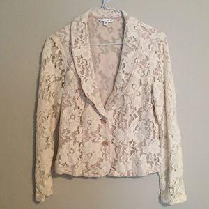 Cabi Cream Floral Lace Blazer
